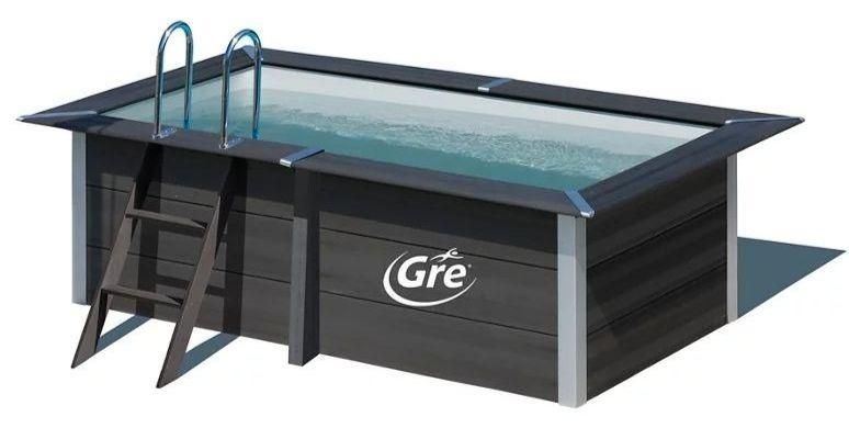Piscina desmontable rectangular GRE gris